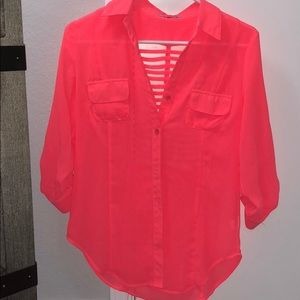 Tops - Neon coral button up blouse!!